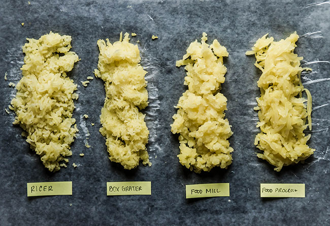 overhead photo of four piles of shredded potatoes with yellow labels