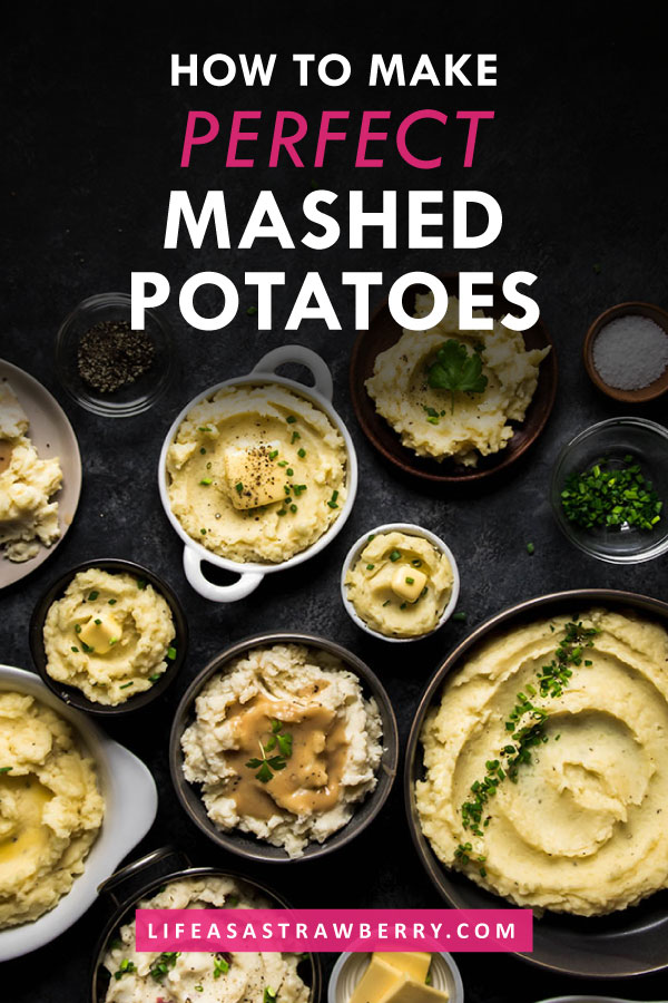 Graphic with white text and bowls of mashed potatoes on a black background
