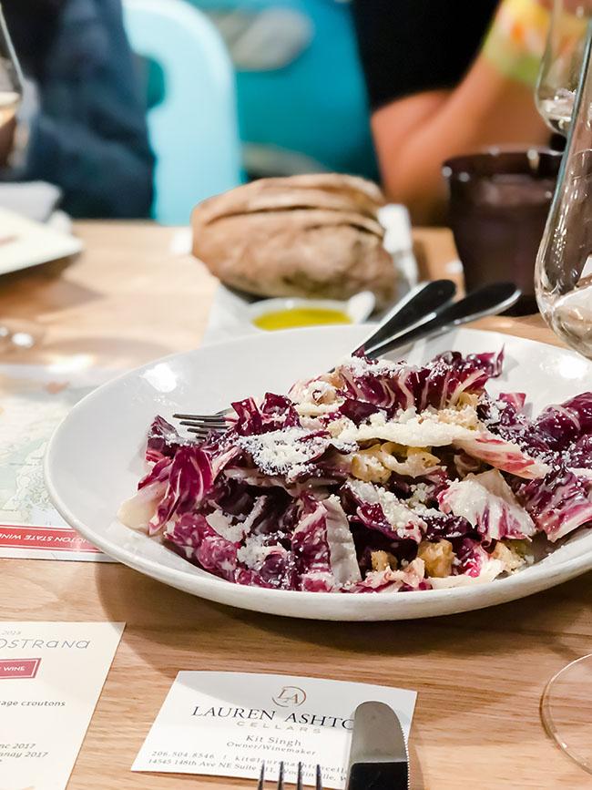 raddichio salad on a white plate