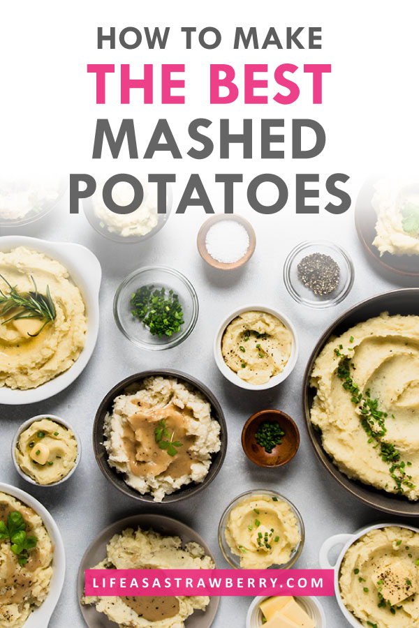 Multiple bowls of mashed potatoes on a white table with text on the photo