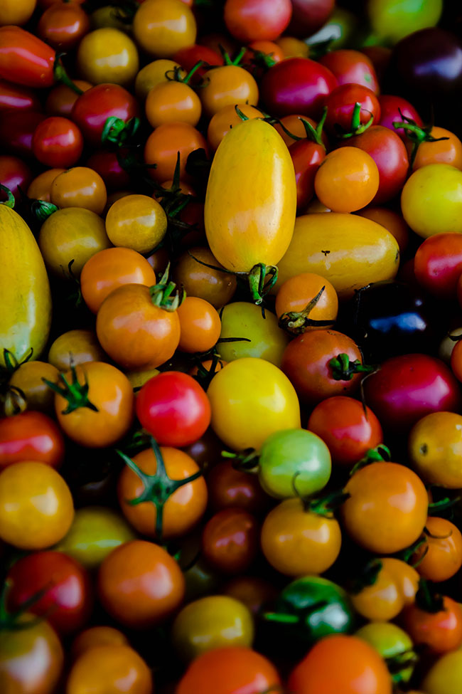 A pile of multi-colored cherry tomatoes.