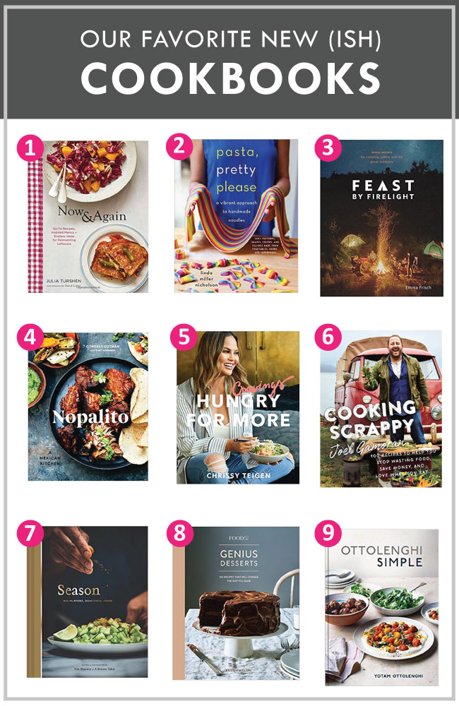 "graphic with nine cookbook covers labeled with pink numbers and a grey heading that reads ""the best new-ish cookbooks"""