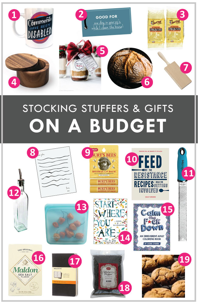 "graphic with a variety of images of christmas gifts with white text overlay that reads ""stocking stuffers & gifts on a budget"""