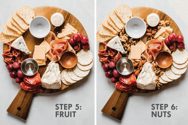 Adding red grapes, walnuts, and almonds to a cheese board. Grey text overlay says \'step 5: fruit, step 6: nuts.\'