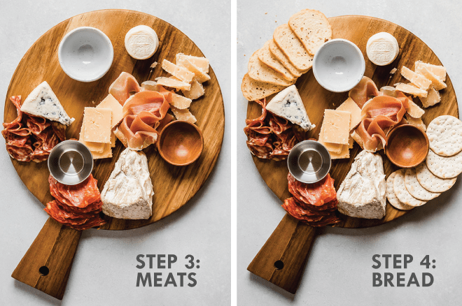 Adding prosciutto, salami, and crostini to a wooden cheese board. Grey text overlay says \'step 3: meats, step 4: bread.\'