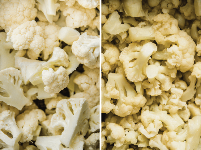 overhead photo of raw cauliflower florets next to cooked cauliflower florets