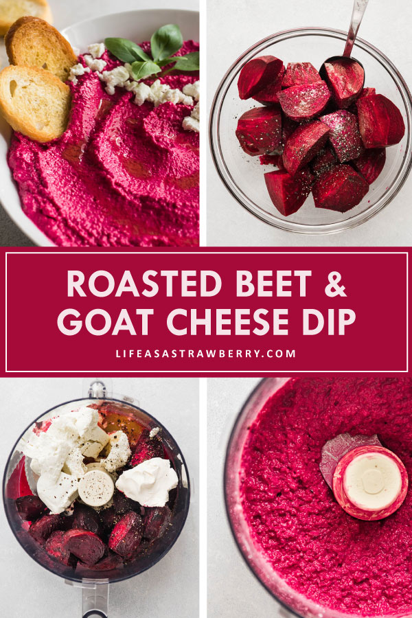 graphic with four photos illustrating how to make beet dip step by step