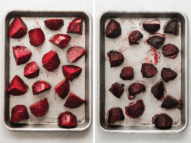 overhead photo of a sheet pan filled with raw beets next to a sheet pan filled with roasted beets