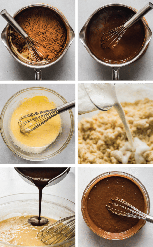 Step by step graphic with six photos illustrating how to make chocolate stout cupcakes