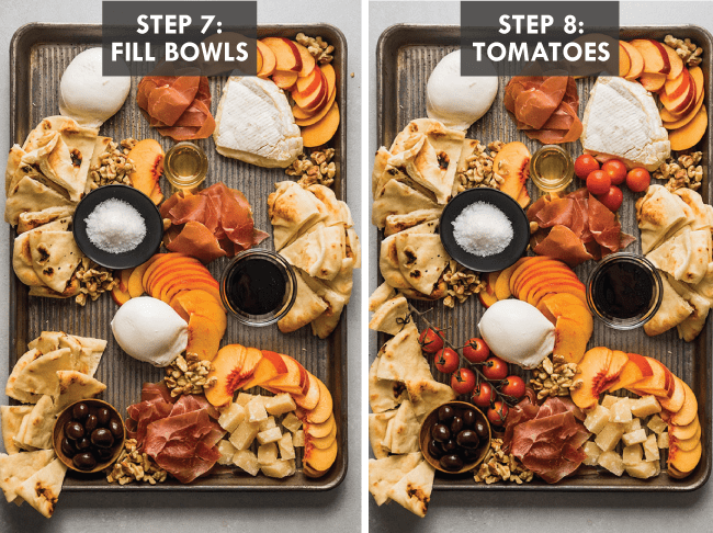 Overhead photo of a sheet pan filled with burrata, brie, peaches, and bread