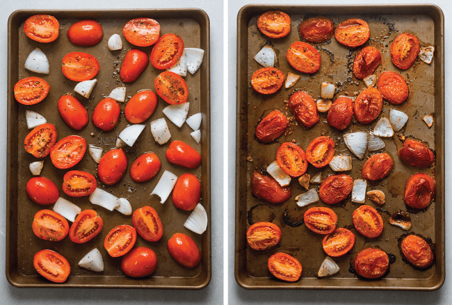 before and after picture of raw tomatoes next to roasted tomatoes