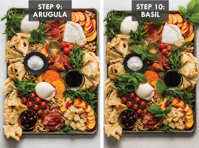 Overhead photo of a sheet pan filled with peaches, tomatoes, cheese, and toasted bread