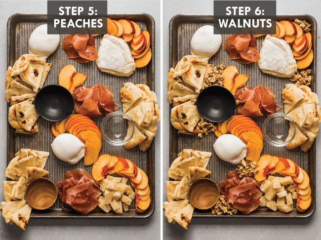 Overhead photo depicting the steps of building a cheese plate with fresh peaches, cheeses, and naan
