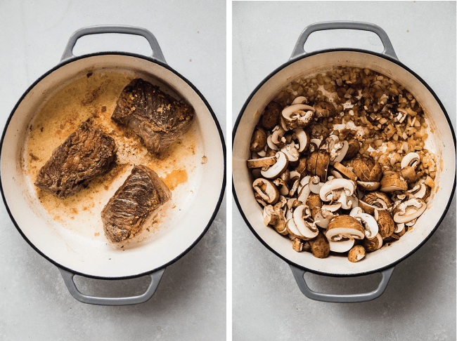 Overhead photo of a grey dutch oven with seared short ribs next to a dutch oven filled with sliced mushrooms