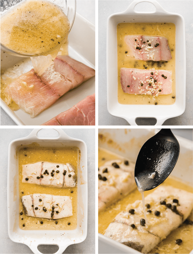 Graphic with four images depicting the steps to make baked fish