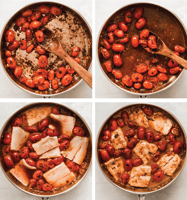 Barramundi pieces cooking in a large saucepan with tomatoes and white wine.