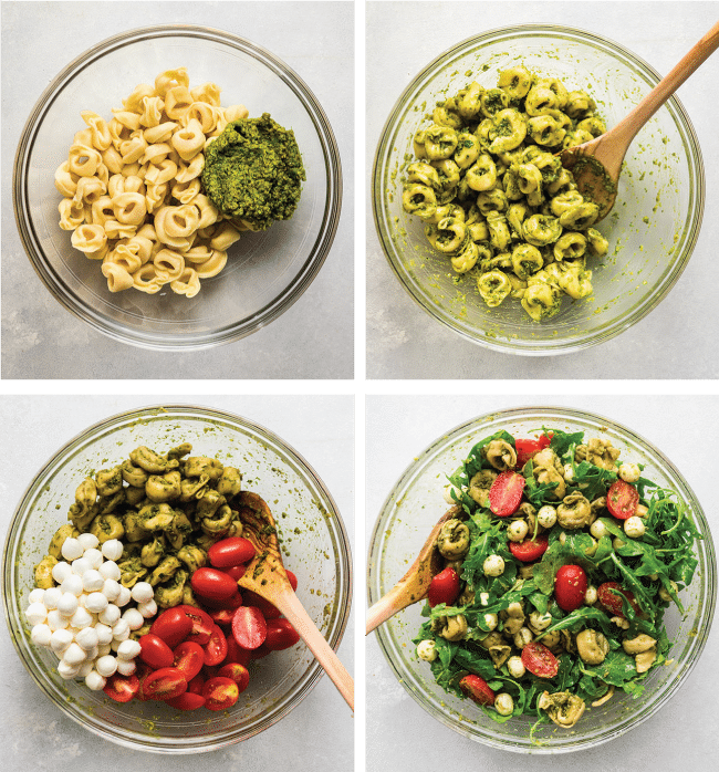 graphic with four photos illustrating the steps to make tortellini pasta salad