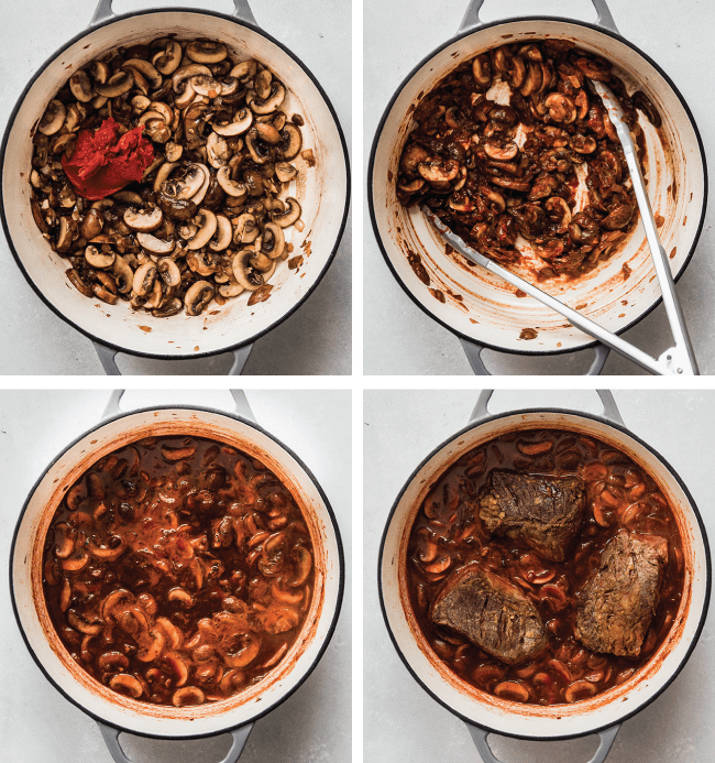 graphic with four photos illustrating the steps to make wine braised short ribs
