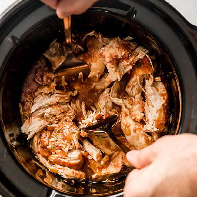 Slow cooker shredded chicken.