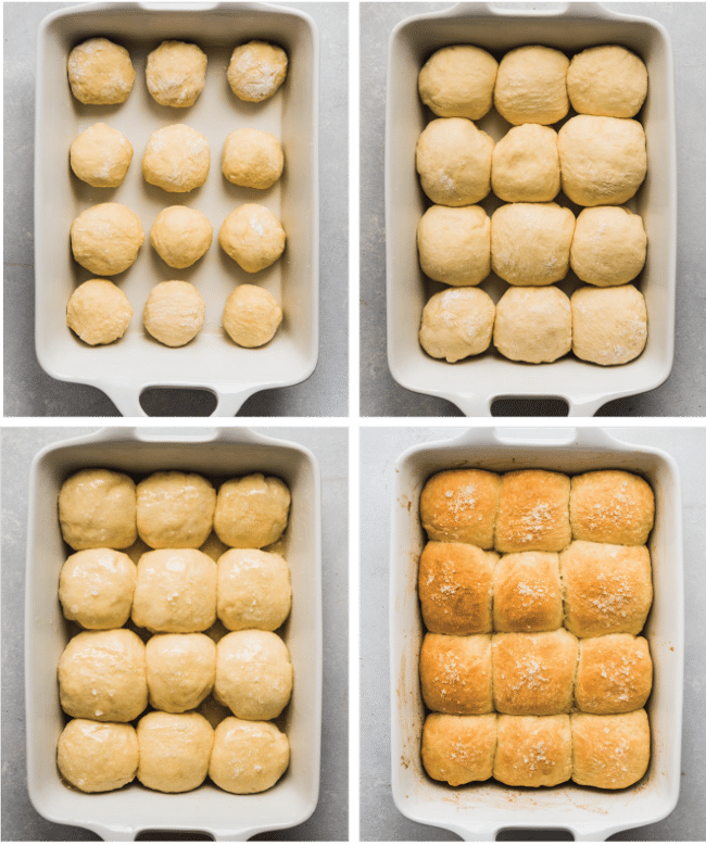 Graphic with four photos illustrating each step of baking homemade dinner rolls