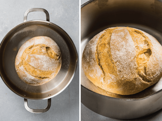 crusty french bread in a stainless steel stockpot