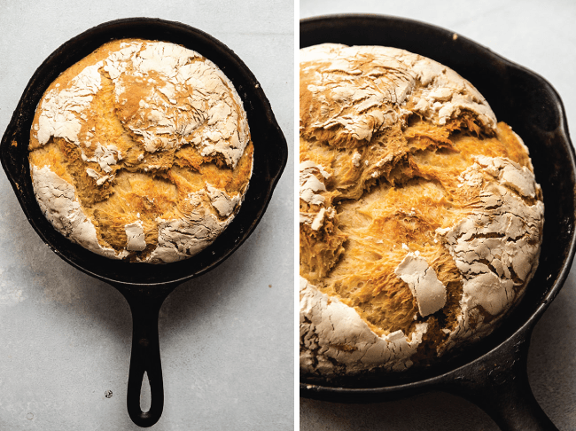 Graphic with side by side photos of loaves of crusty bread in two cast iron skillets