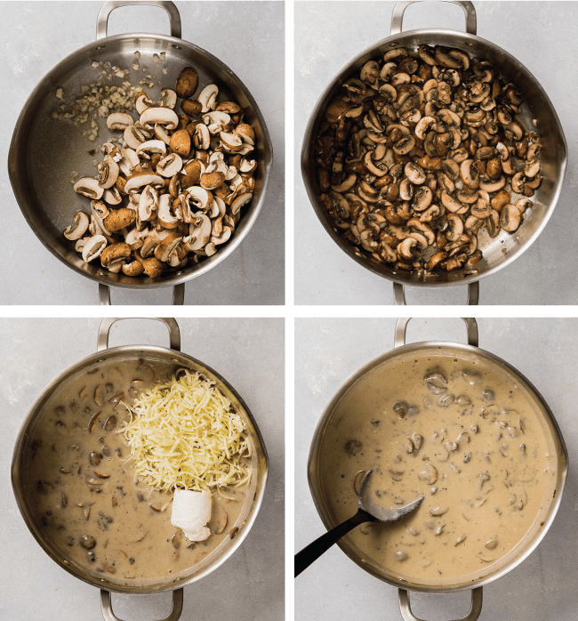 graphic with four images illustrating the steps to make mushroom mac and cheese