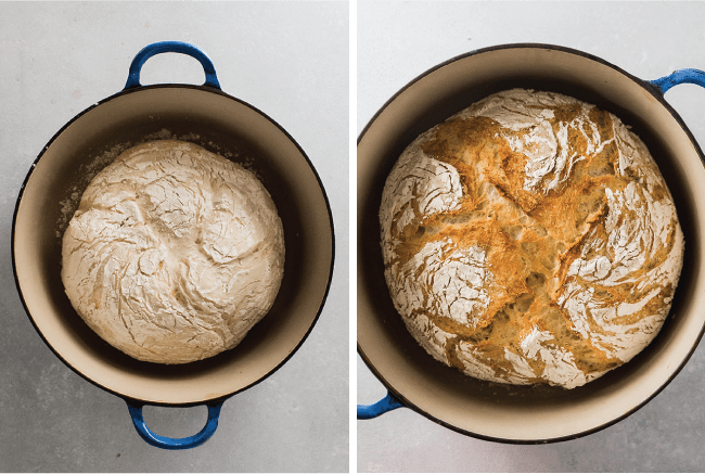 side by side photos of crusty bread before and after baking in a dutch oven