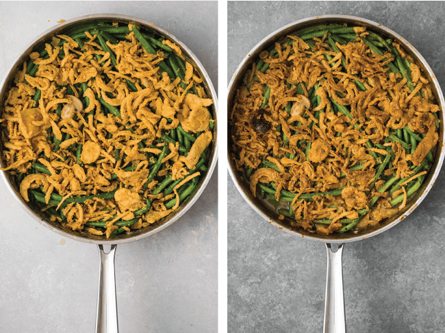 before and after photos of green bean casserole before and after baking