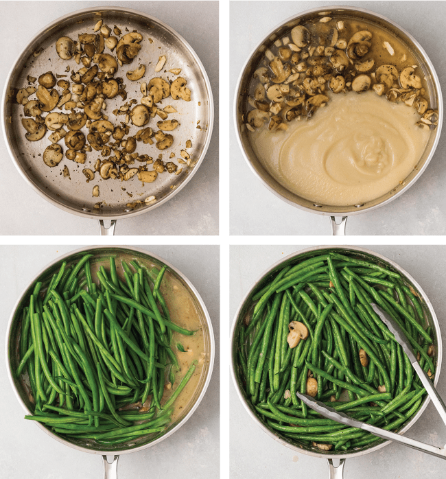 four images showing the steps to make homemade green bean casserole