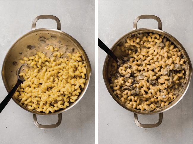 side by side before and after photos of cavatappi pasta next to cavatappi pasta tossed in mushroom sauce