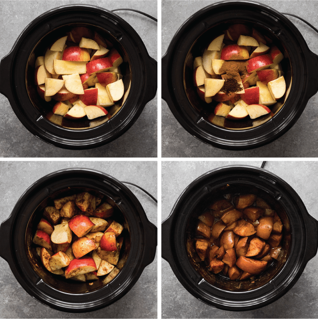 Graphic with four side-by-side images illustrating the steps to make slow cooker apple butter
