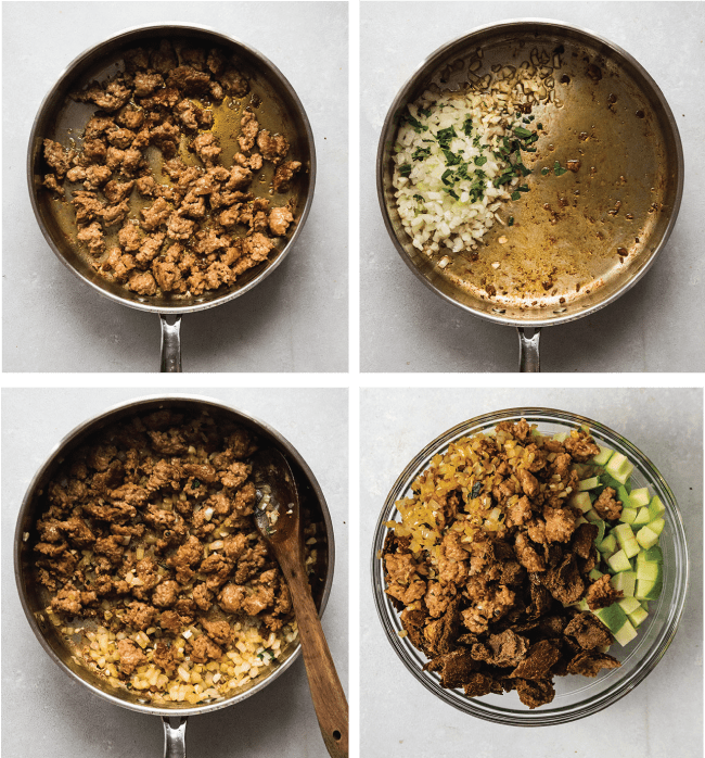 Graphic with four images illustrating the steps to make pumpernickel apple stuffing
