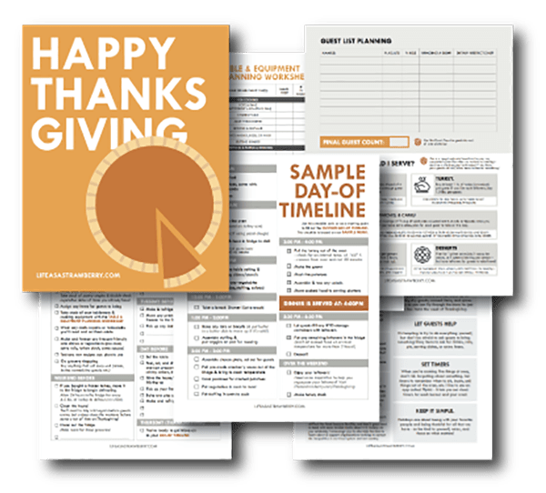 Multiple screenshots of various pages of the Life As A Strawberry Thanksgiving Workbook.
