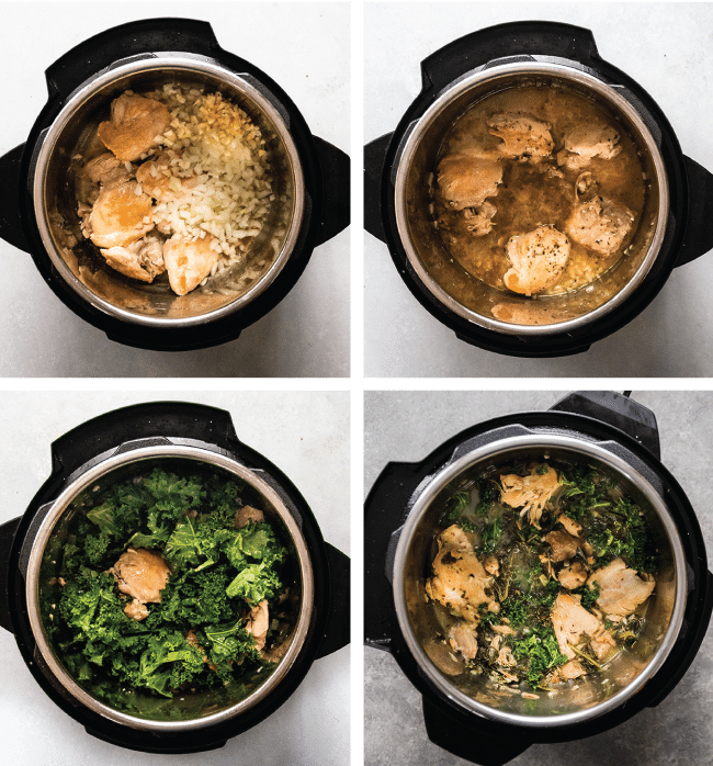Graphic with four side by side photos illustrating the steps to cook lemon chicken thighs in an Instant Pot