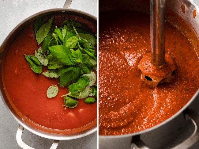 Side by side photos of tomato sauce and fresh basil in a saucepot next to an immersion blender blending tomato soup