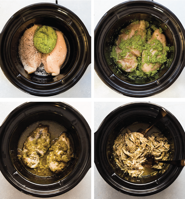 Chicken breasts and pesto in the bowl of a slow cooker.