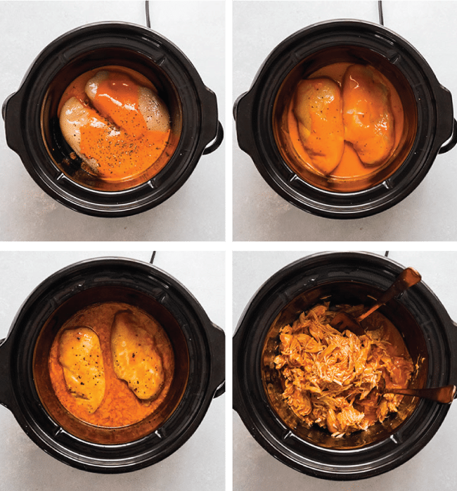 Graphic with four images depicting the steps to make crockpot buffalo chicken