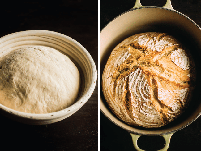 Graphic with side by side photos of bread dough in a proofing basket next to a loaf of bread in a dutch oven