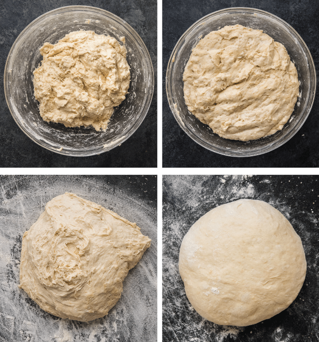 Graphic with four side-by-side photos illustrating the steps to make bread dough