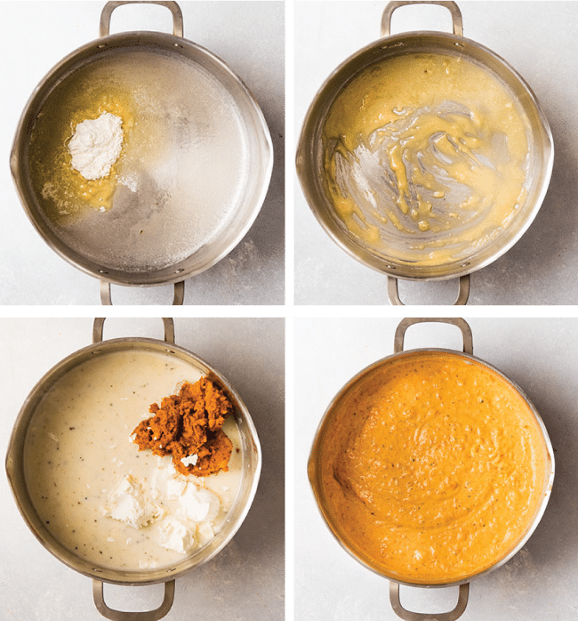 Graphic with four side by side photos illustrating the steps to make butternut squash cheese sauce