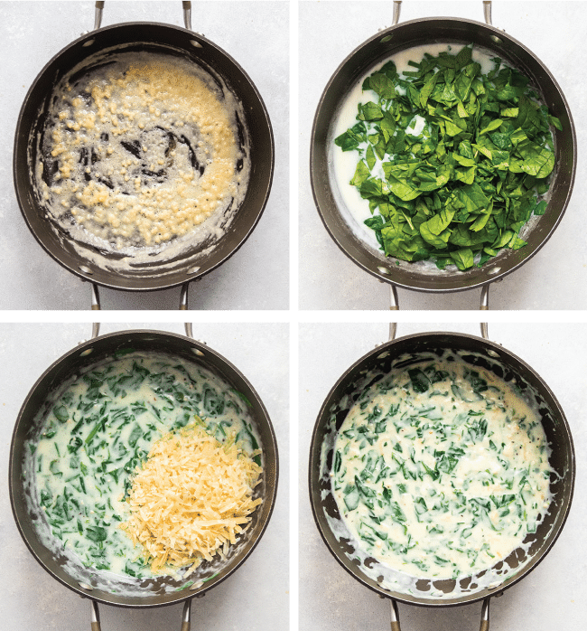 Graphic with four side by side photos illustrating the steps to make parmesan spinach sauce.