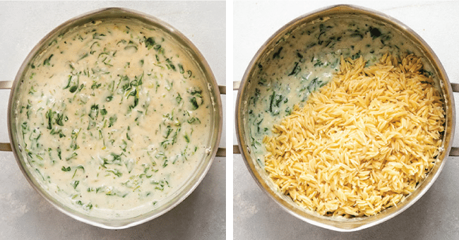 Pot of spinach cream sauce next to a pot of cooked orzo pasta.