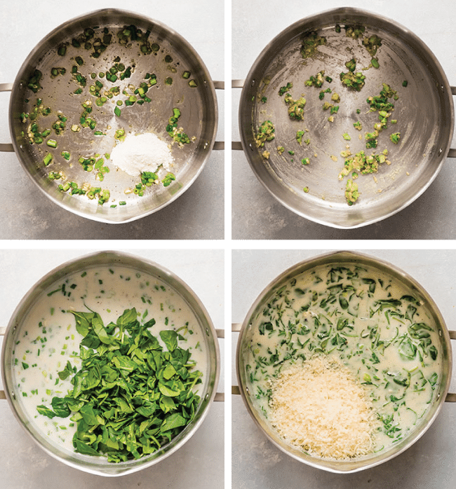 Fresh spinach and shredded parmesan being stirred into a creamy sauce.