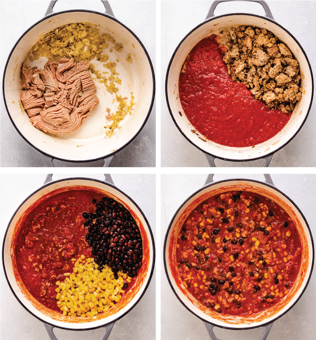 Graphic with four images illustrating the steps to make turkey chili in a Dutch oven
