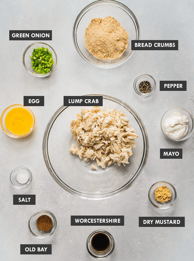 Overhead photos of small bowls each filled with a different ingredient to make crab cakes