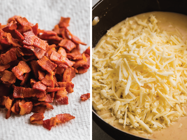 Graphic with two side by side photos: crispy bacon on a paper towel next to an image of shredded cheddar cheese with cream sauce in a large saucepot