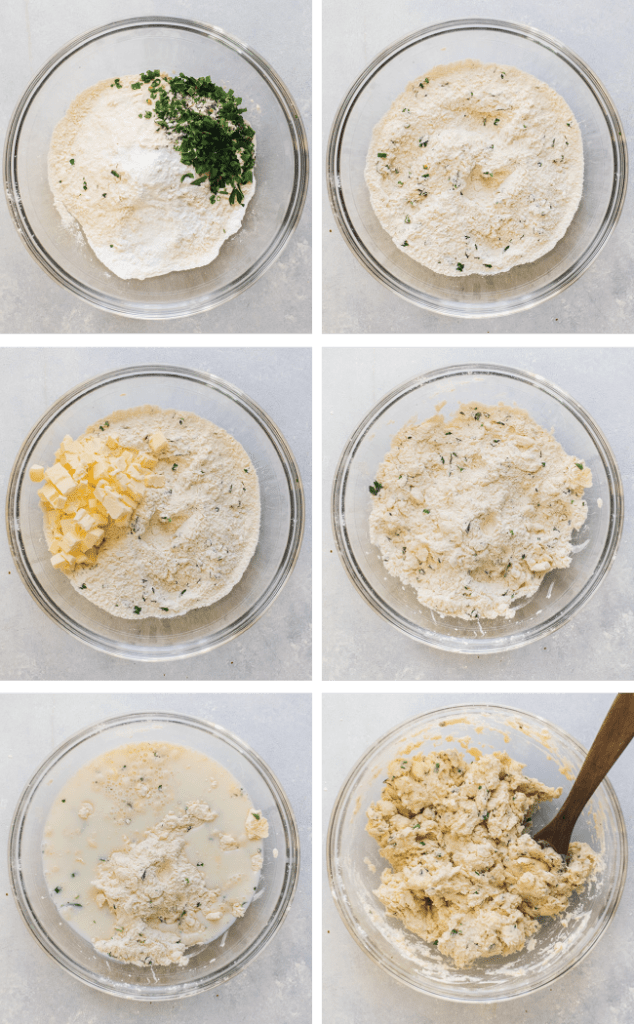 Graphic with six photos, each an overhead photo of a glass bowl during a different step of the process to make herbed biscuit dough.