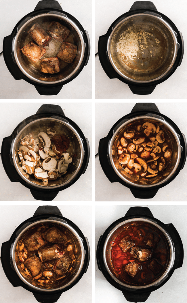 Graphic with six side by side photos illustrating the steps to make Instant Pot short ribs