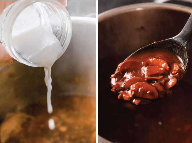 Graphic with side by side photos of a woman's hand pouring white liquid into a saucepan and a black spoon lifting red sauce out of a pan.